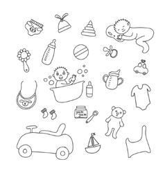 Set of baby items baby sleeps and bathes vector