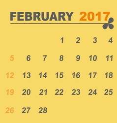 Simple calendar template of february 2017 vector image vector image