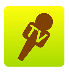 Tv microphone sign brown vector
