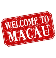 Welcome to macau red square grunge stamp vector