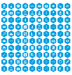 100 doctor icons set blue vector