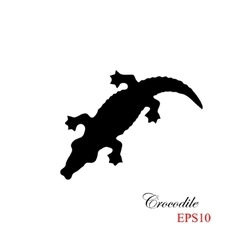 The black silhouette of a krocodile on a white vector image