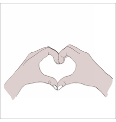Digital female hands in heart form vector image