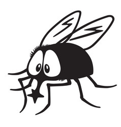 Cartoon fly black white vector