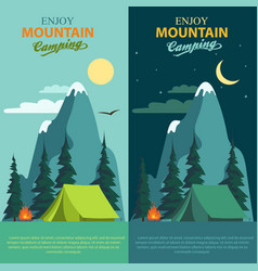 Camping adventure bonfire fire and tent vector