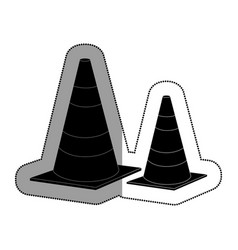 Cones caution sign icon vector