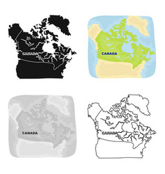 Map of canada canada single icon in cartoon style vector
