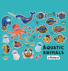 Decorative aquatic animals and fishes set vector