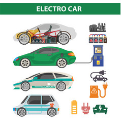 Electric cars colorful poster with ways of vector