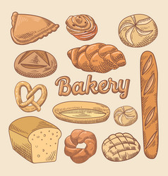 Bakery hand drawn doodle with different bread vector