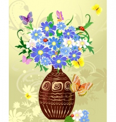 Wild flowers in a vase vector
