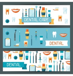 Medical banners design with dental equipment icons vector