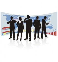 Global business team silhouette vector