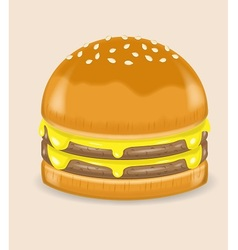 Double cheese poke hamburger vector