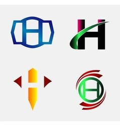 Letter h logo icon template set vector