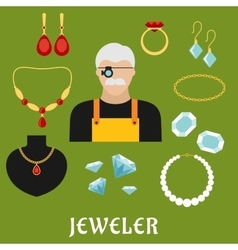 Jeweler and jewelry flat icons vector