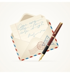 Letter mail and pen vector