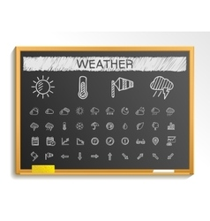 Weather hand drawing line icons chalk sketch sign vector