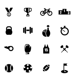 Black sport icon set vector