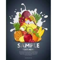 Fruit mix on milk splash vector image