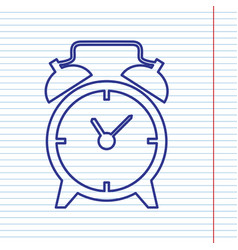 Alarm clock sign navy line icon on vector