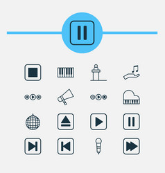 audio icons set collection of note donate vector image vector image