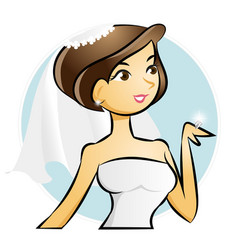 bride looking at wedding diamond ring vector image