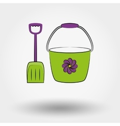 Bucket and shovel for the sandboxes vector image
