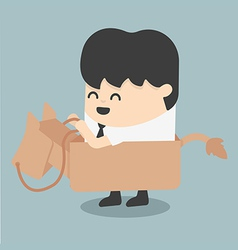 Businessman riding the toy horse vector