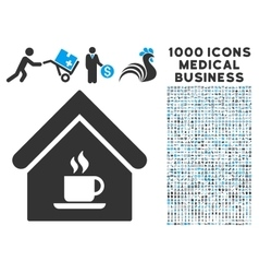 Cafe House Icon with 1000 Medical Business Symbols vector image