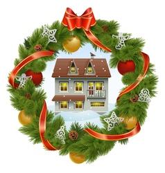 Christmas wreath with house vector