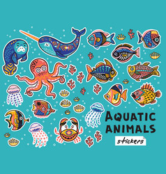 decorative aquatic animals and fishes set vector image vector image
