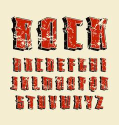 Decorative sanserif font in hard rock style vector
