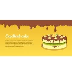 Delicious cake excellent cake strawberry pie vector
