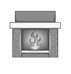 Fireplace icon monochrome vector