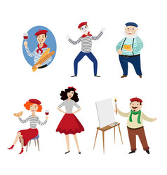 Funny french characters people food and culture vector
