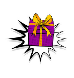 Gift box birthday picture pop art vector
