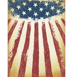 Grunge Aged American Flag Background Template vector image