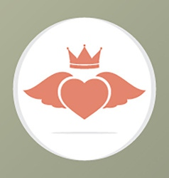 Heart wing with crown vector