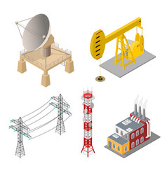 industrial objects set isometric view vector image vector image