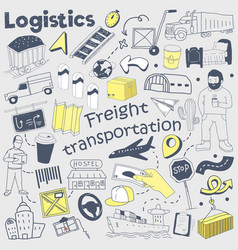Logistics service hand drawn doodle delivery vector