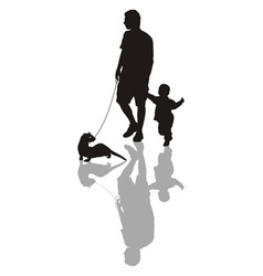 Man and child with a ferret on a leash vector image vector image