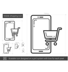 Mobile shopping line icon vector