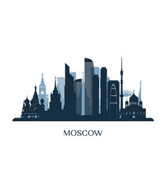 Moscow skyline monochrome silhouette vector