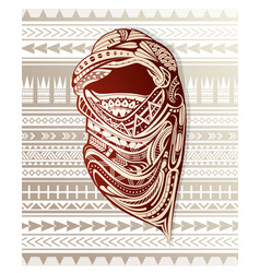 Nomad with headscarf ornamented with ethnic design vector