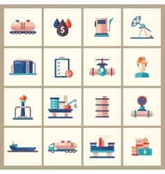 Oil gas industry modern flat design icons and vector