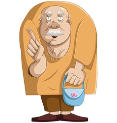 old man with purse vector image vector image
