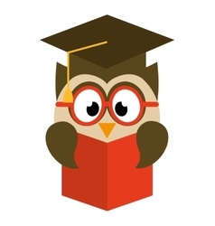 owl bird cute with hat graduation icon vector image