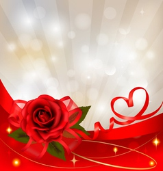 red rose with gift red bow vector image vector image