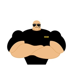 Security guard Strong Athletic man in black vector image vector image